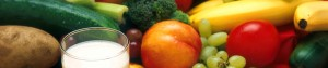 Healthy food including fruit, vegetables and milk